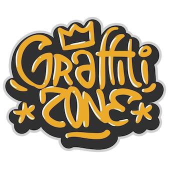 Os grafittis relacionados do hip-hop etiquetaram o sinal influenciado etiqueta logo lettering para a camisa ou a etiqueta de t em um fundo branco. imagem.