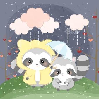 Os guaxinins fofos usam capa de chuva e guarda-chuva