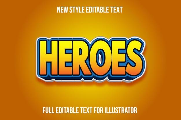 Os heróis 3d do efeito de texto colorem gradiente amarelo e azul