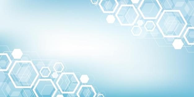 Os hexágonos abstraem base com formas geométricas, ciência, tecnologia e conceito médico futurista.