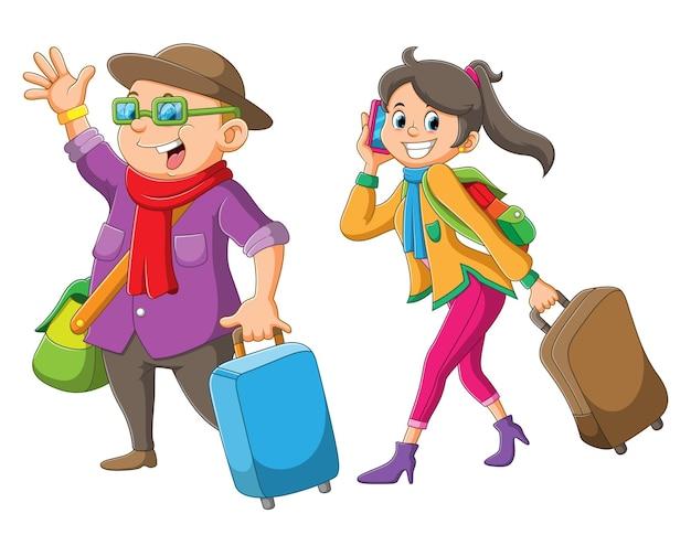 Os homens e mulheres estão segurando uma mala e prontos para viajar