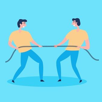 Os homens se esforçam ao máximo para puxar as cordas. competição acirrada
