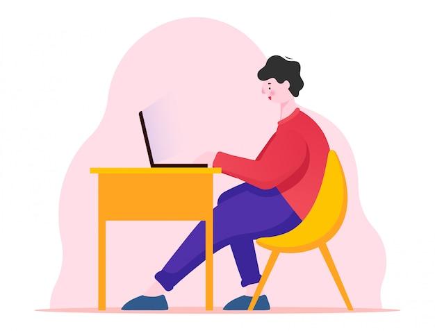 Os homens trabalham na ilustração do computador