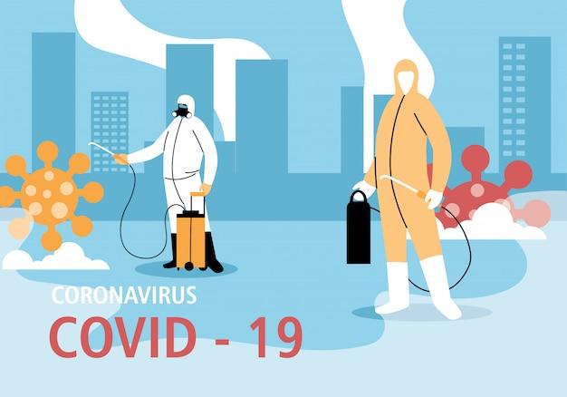 Os homens usam roupas de proteção, limpam e desinfetam a cidade com coronavírus ou cobiços 19