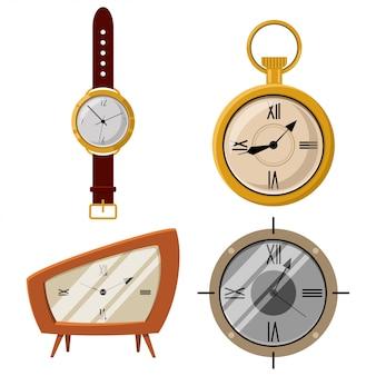 Os ícones antigos dos desenhos animados do vetor de relógio e de pulso de disparo de bolso ajustaram-se isolado no fundo branco.
