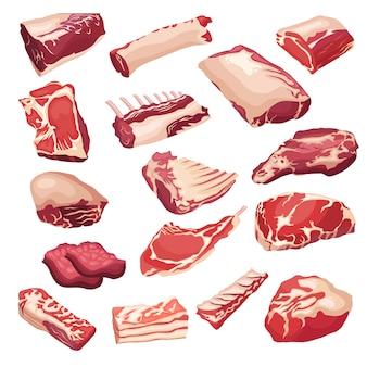 Os ícones da carne fresca ajustaram-se no estilo liso. objetos de vetor isoletad.