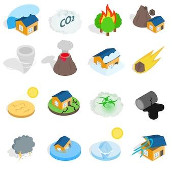 Os ícones da catástrofe da catástrofe natural ajustaram-se no estilo 3d isométrico. ilustração vetorial