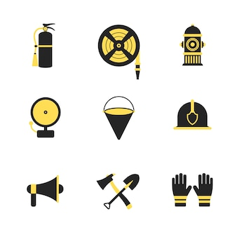 Os ícones de combate a incêndios e salvamento de emergência criam ilustração vetorial para dispositivos móveis, web e aplicativos.