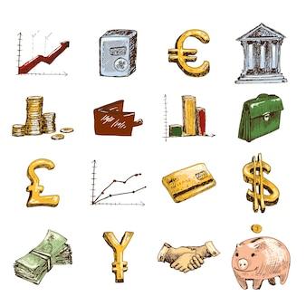 Os ícones de finanças definem o esboço colorido