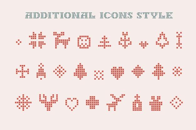Os ícones de natal são feitos de malhas grossas e redondas, perfeitos para o design da festa feia de suéter