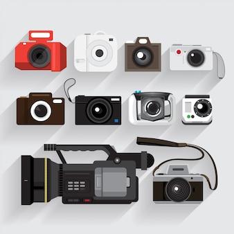 Os ícones definem o estilo da câmera e do gravador de vídeo.