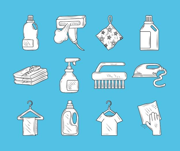 Os ícones do pacote de lavanderia incluem pincel spray para camisa e detergente