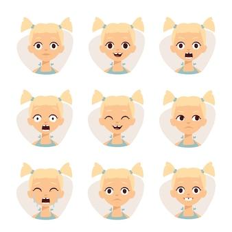 Os ícones do smiley ajustaram-se de meninas bonitos com ilustração diferente das emoções.