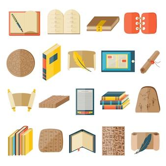 Os ícones dos desenhos animados do livro incluíram o vetor de estado normal da educação da biblioteca da tipografia.
