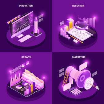Os ícones isométricos do conceito da estratégia empresarial ajustaram-se com pesquisa e ilustração isolada dos símbolos de marketing