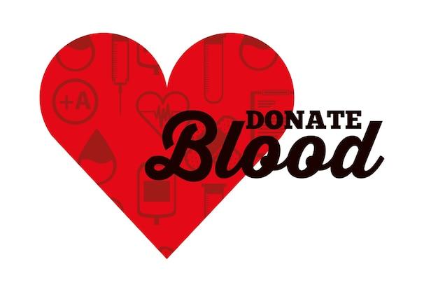 Os ícones médicos do coração vermelho doam sangue