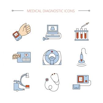 Os ícones médicos do diagnóstico ajustaram-se em objetos isolados do vetor.