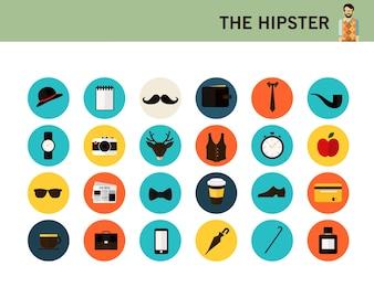 Os ícones planas do moderno hipster.