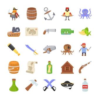 Os ícones planas dos piratas