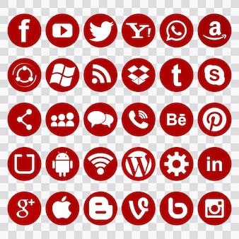 Os ícones vermelhos para redes sociais