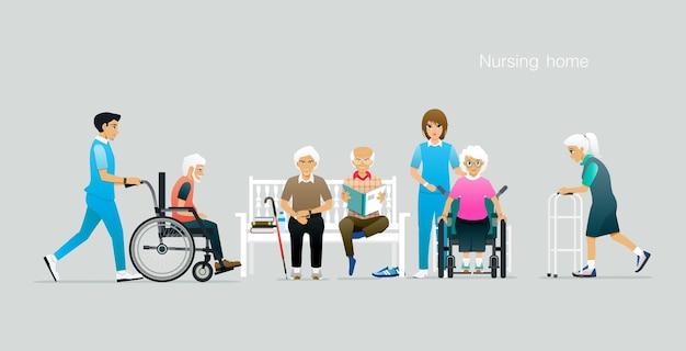 Os idosos estão sob os cuidados de uma casa de repouso.