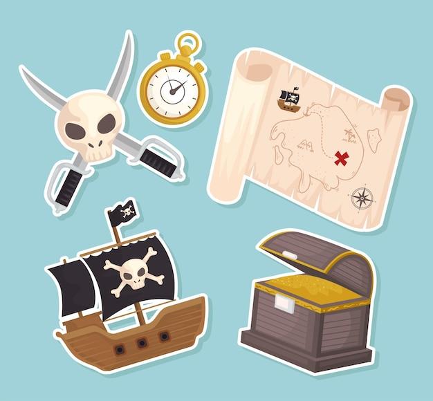 Os itens do tesouro dos piratas