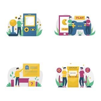 Os jogadores jogam jogos no pc, celular, console e ilustração de vr,