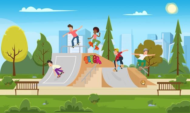 Os jovens andam no parque no rollerdrome.