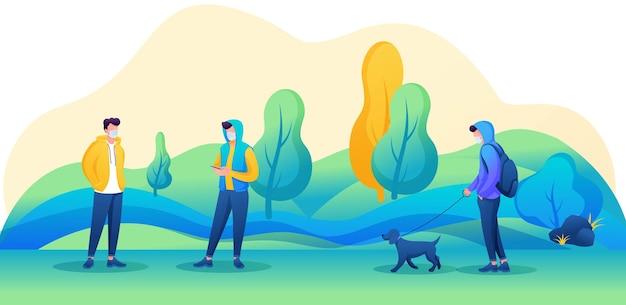 Os jovens caminham no parque com máscaras no rosto e observam a distância social. ilustração vetorial com personagens 2d.