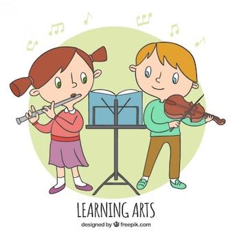 Os jovens crianças learnig música