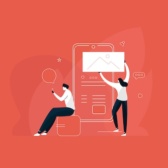 Os jovens estão usando smartphones para ilustração de mídia social, amigos estão conversando e mensagens de texto e mensagens, compartilhando o conceito de fotos