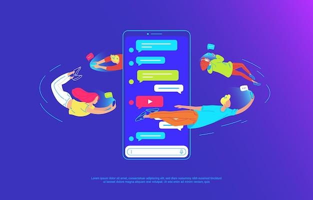 Os jovens estão voando de um grande smartphone e usando seus próprios smartphones para enviar mensagens de texto, compartilhar vídeos e bater papo com amigos. ilustração em vetor conceito gradiente de usabilidade do telefone móvel