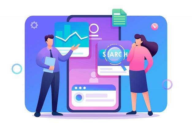 Os jovens ficam perto da tela do telefone móvel, testando o programa e o aplicativo móvel. personagem plano. conceito de web design