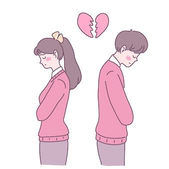 Os jovens que estão com o coração partido e tensos se distanciam uns dos outros.