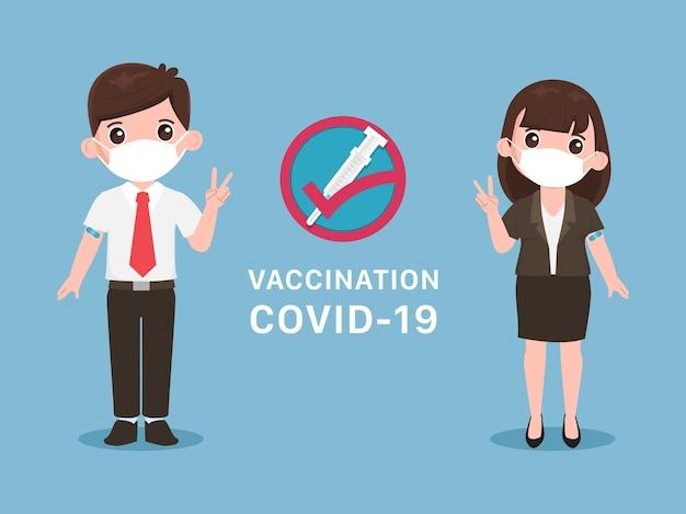 Os jovens recebem a vacina covid19 para se proteger do vírus