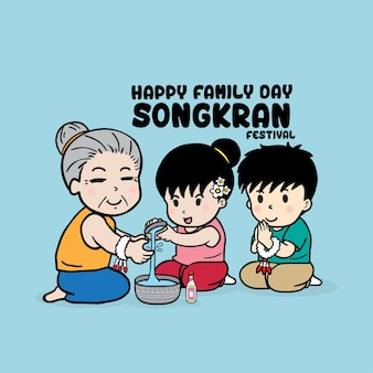 Os mais velhos cumprimentando os jovens no festival songkran