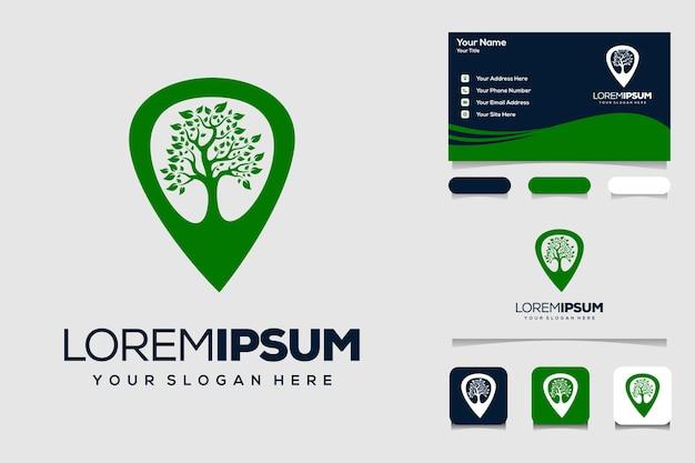 Os mapas dos pinos de localização da árvore de símbolos combinam com o logotipo da árvore e o design do cartão de visita