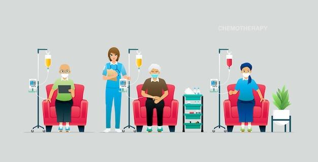 Os médicos estão verificando a precisão da administração de medicamentos de quimioterapia aos pacientes.