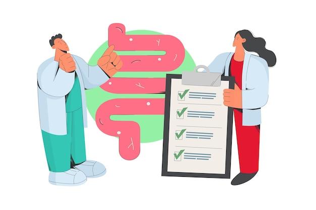 Os médicos examinam o trato gastrointestinal do paciente