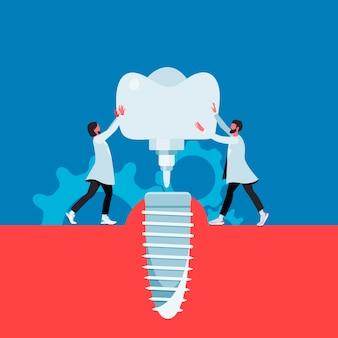 Os médicos instalam uma dentadura em design plano