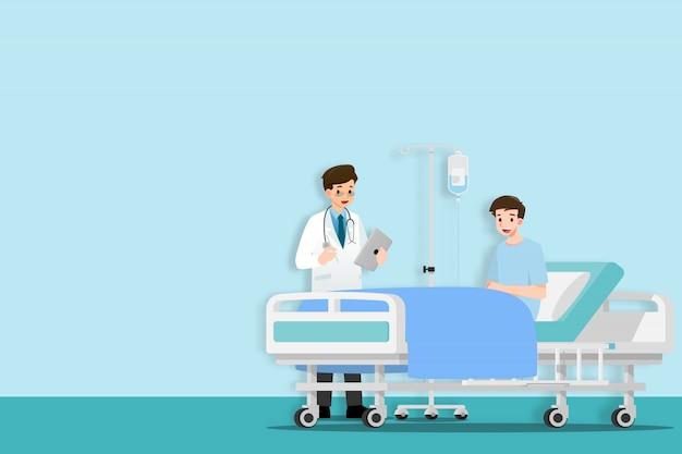 Os médicos visitam e tratam o paciente.
