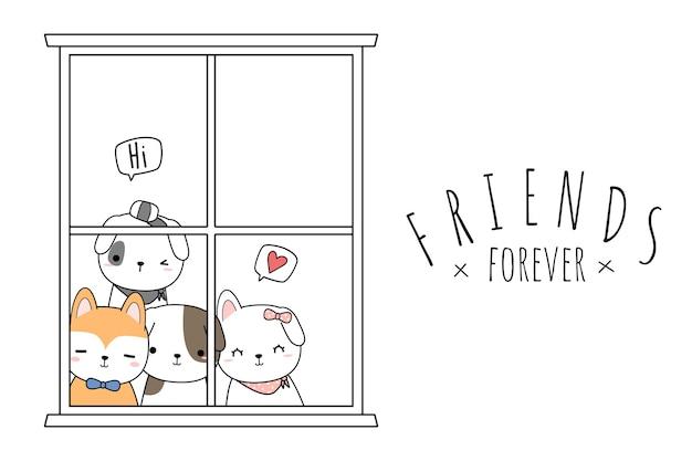 Os melhores amigos do cão fofinho cumprimentam para sempre o cartão do desenho animado