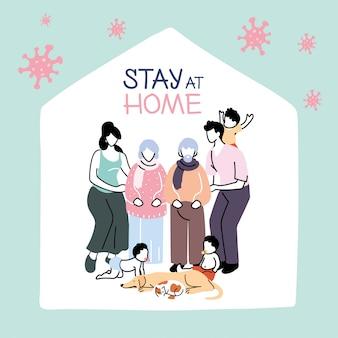 Os membros da família ficam em casa contra a pandemia de coronavírus