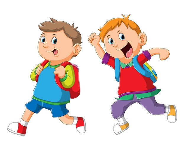 Os meninos estudantes vão para a escola com o uniforme colorido