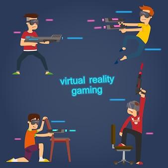 Os meninos usam óculos de realidade virtual para jogar jogos ativos.