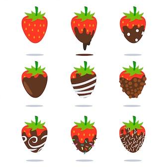 Os morangos com cobertura em chocolate dos desenhos animados ícones lisos da fruta ajustaram-se isolado no fundo branco.
