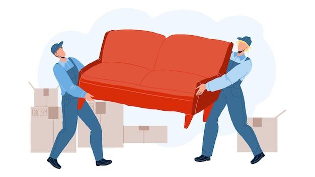 Os motores carregam o sofá e movem-se para o vetor da casa nova. homens de trabalhadores de serviço de transporte e movimento movendo o sofá e as caixas. personagens carregando móveis e papelão ilustração plana dos desenhos animados