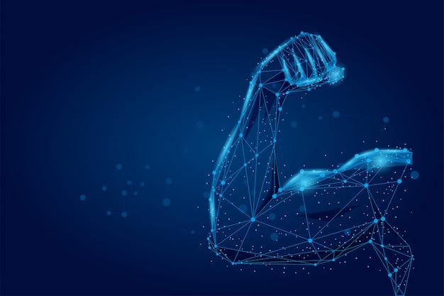 Os músculos da mão masculino 3d conectaram pontos wireframe poli baixo. corpo poligonal do atleta