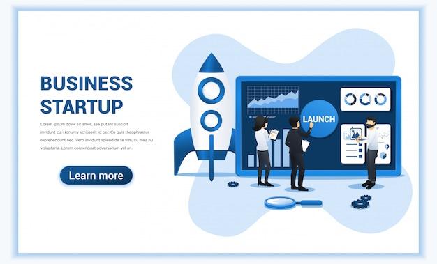 Os negócios começam com as pessoas que trabalham na tela se preparando para iniciar um negócio de inicialização.