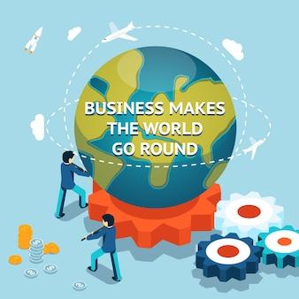 Os negócios fazem o mundo girar. ilustração isométrica do vetor 3d